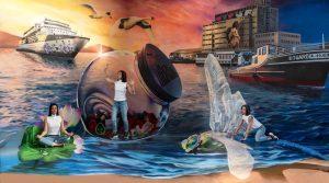 Trick art maľba na stenu - Trick art malba na stenu prístav