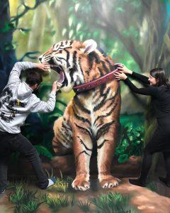 Trick art maľba na stenu - Trick art tiger